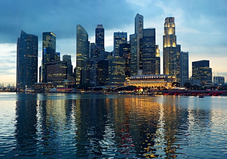 singapore building: Panorama of Singapore in the beautiful evening Stock Photo