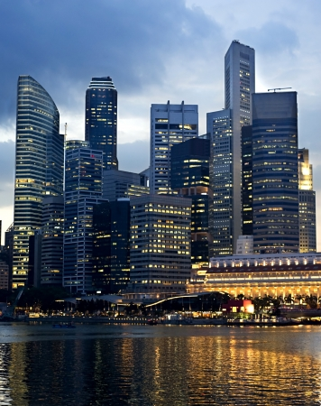 marina life: Business center of Singapore at night
