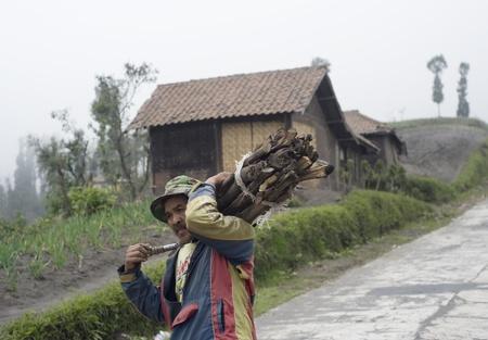 Sukapura, Indonesia - 24 aprile 2011: indonesiana uomo che trasporta legna sulla strada per casa sua