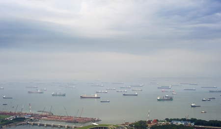 A lot of ships near the Singapore harbor photo