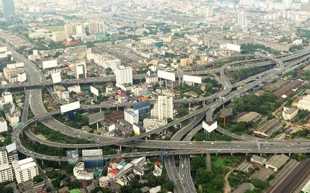 expressway: Panorama of Bangkok from Baiyoke Sky Hotel. Thailand