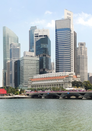 tall buildings: Panorama of Singapore in the sunshine day