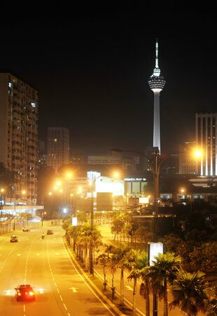 kl: night view of Kuala Lumpur downtown with the KL Tower