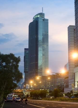 Jakarta Central at beautiful sunset. Indonesia photo