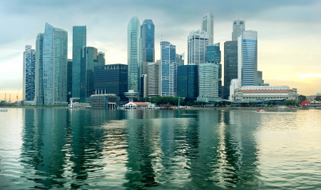 commercial district: Panorama of Singapore in the beautiful sunset