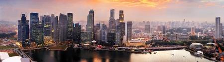 singapore: Panorama of Singapore from Marina Bay Sand Resort at beautiful sunset Stock Photo