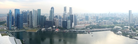 the central bank: Panorama of Singapore from Marina Bay Sand Resort  Stock Photo