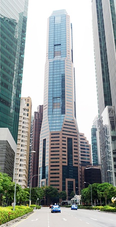 Urban scene in the central district of Singapore photo