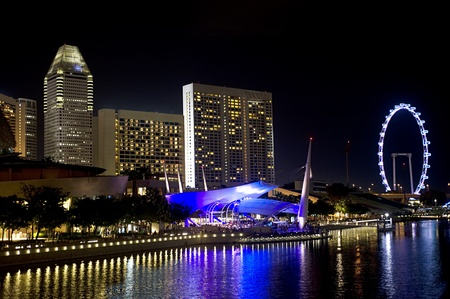 Embankment of Singapore in the evening Stock Photo - 10737560