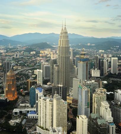 building external: Panorama of Kuala Lumpur from KL Tower at sunset. Malaysia
