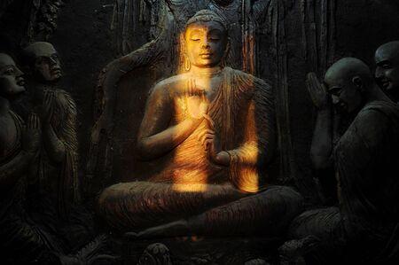 kandy: Buddhist mural in old temple. Kandy, Sri Lanka
