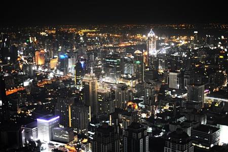 Skyline of Bangkok from Baiyoke Sky Hotel at Night photo