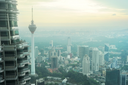 Aeial view of Kuala Lumpur from Petronas Twin Tower at sunset Stock Photo - 10810554