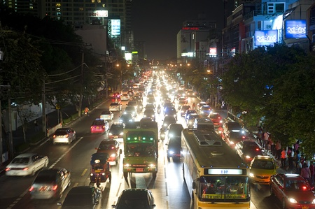 traffic jams: Bangkok, Thailand - March 26, 2011: Bangkok, Thailand - March 03, 2011: Traffic jam in Bangkok in he evening. Bangkok had one of the worst traffic problems in the world with unbelievable traffic jams.