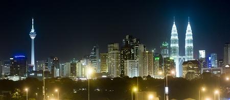 Panorama of Kuala Lumpur at night. Malaysia