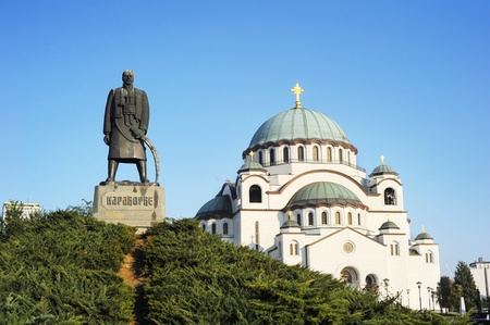 commemorating: Monument commemorating Karageorge Petrovitch in front of Cathedral of Saint Sava in Belgrade, Serbia  Stock Photo