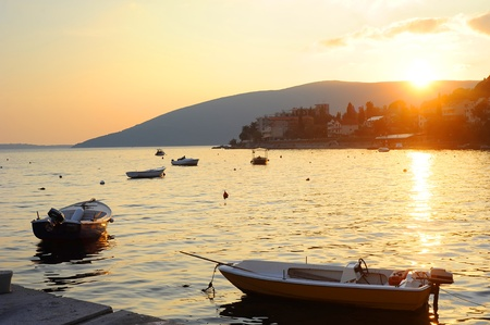 Beautiful sunset over the sea in Herceg  Novi, Montenegro photo