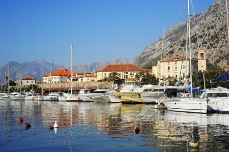 A lot of yachts in Kotor harbor, Montenegro photo