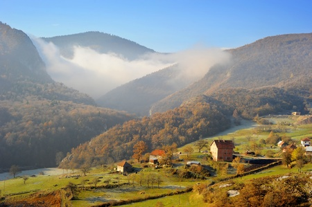 Serbian mountain village in the sunshine morning photo