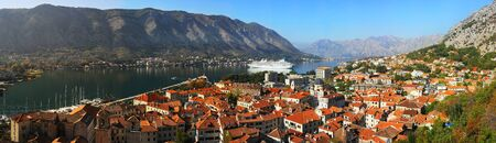 Aerial view of Kotor city, Montenegro photo