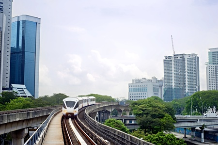 monorail: Cityscape with metro and high office buildings in Kuala Lumpur, Malaysia