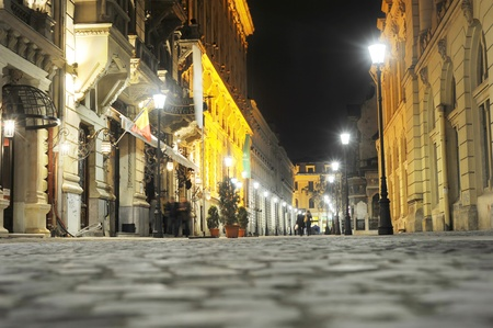 Bucharest, Romania - November 6, 2011: Old City of Bucharest in the night.The area is historic for this is where Bucharest was founded in the 1300s.