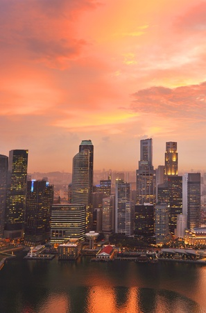 central bank: View of Singapore from Marina Bay Sand Resort at beautiful sunset  Stock Photo