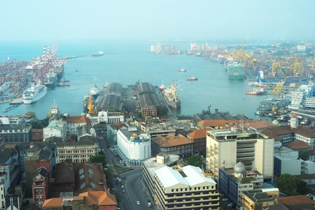 View on Colombo harbor from WTC Colombo. Sri Lanka  photo