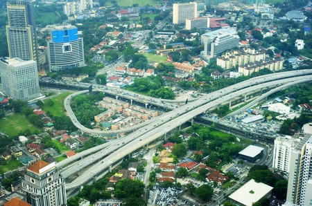 flyover: Aeial view of Kuala Lumpur. Malaysia