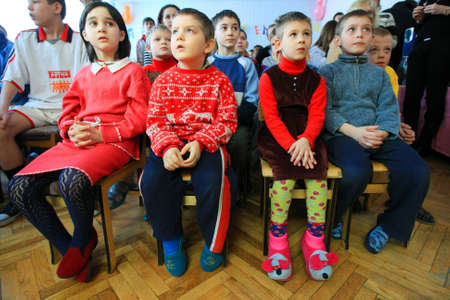 Kiev, Ukraine - February 21, 2008: Children at Shelter for Minors. Of Ukraine's nine million children some 65,000 live in state-run children's institutions such as orphanages, boarding schools and shelters.