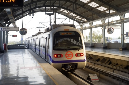 new delhi: Indian modern metro train in Delhi Editorial