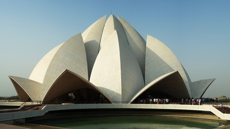 Delhi, India - March 03, 2012: Lotus Temple  in Delhi. It was completed in 1986 and serves as the Mother Temple of the Indian subcontinent.