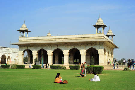 Delhi, India - February 02, 2012: The Red Fort  is a 17th century fort complex constructed by the Mughal emperor Shah Jahan in the walled city of Old Delhi that served as the residence of the Mughal Emperors.  It was designated a UNESCO World Heritage Sit