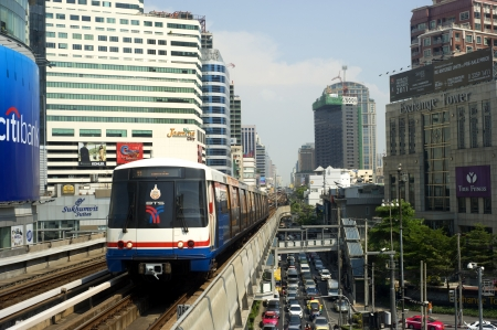 bangkok city: Bangkok, Thailand - March 17, 2012: BTS Skytrain  in Bangkok. The Bangkok Mass Transit System, commonly known as the BTS Skytrain, is an elevated rapid transit system in Bangkok. The system consists of 32 stations along two lines