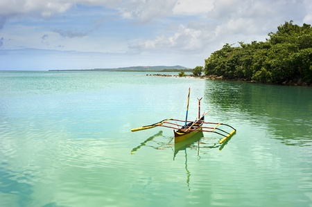 Tropical landscape with traditional Philippines boat on Calicoan island, Philippines Stock Photo - 13282107