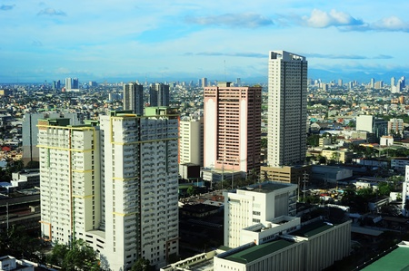 Aerial view on Makati - modern financial and business district of Metro Manila, Philippines photo