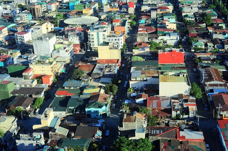 squatter: Aerial view on slum in Makati district - modern financial and business district of Metro Manila, Philippines