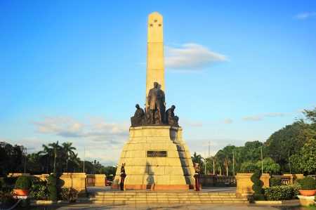 manila: Manila, Philippines - April 01, 2012: Rizal monument in Rizal park in Manila. The monument was built to commemorate the Filipino nationalist, José Rizal. The monument was unveiled in 1913.
