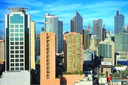 Luchtfoto van Makati City - moderne financiële en zakelijke district van Metro Manila, Filipijnen
