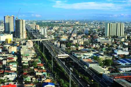 Aerial view on slum and highway in Metro Manila, Philippines photo
