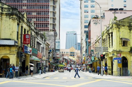 Kuala  lumpur, Malaysia - March 20, 2012: Chinatown street in KL. Kuala Lumpur is the capital and most populous city in Malaysia.The city covers an area of 243 km2 and has  population of 1.6 million as of 2012