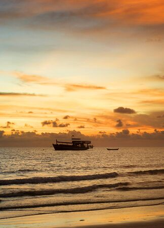 Thailand fishing boat at a beautiful sunset photo