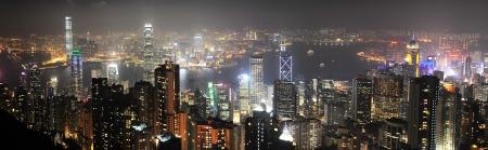 Night panorama of Hong Kong from Victoria peak