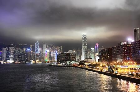 Panorama of Hong Kong at night photo