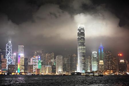 Panoramic view of Victoria Bay at night. Hong Kong Stock Photo - 13966208