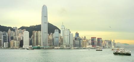 hong kong: Victoria bay at sunset. Hong Kong