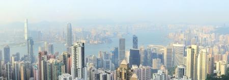 Panorama of Hong Kong from Victoria bay at sunset. photo