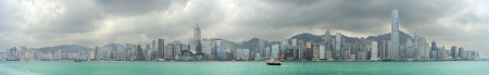 Hong Kong - May 21, 2012: Hong Kong panorama. With a land mass of 1,104 km and population of 7 million people, Hong Kong is one of the most densely populated areas in the world