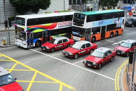public transportation: Hong Kong - May 21, 2012:  Public transport in Hong Kong. Over 90% of the daily journeys are on public transport, making it the highest rate in the world.