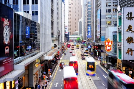 Hong Kong - May 21, 2012: Aerial view on  Hong Kong street. With a land mass of 1,104 km and a population of 7 million people, Hong Kong is one of the most densely populated areas in the world